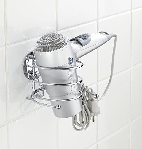 comprare on line WENKO 18770100 Turbo-Loc porta asciugacapelli - fissaggio senza trapano, Acciaio, 14 x 7.5 x 11.5 cm, Cromo prezzo