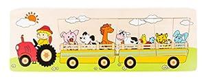 Small Foot 10661Puzzle de Madera con Siete Animales de Granja, Puzzle Piezas, asignación y Laying Juego, promueve la concentración, la comunicación y la motricidad Fina