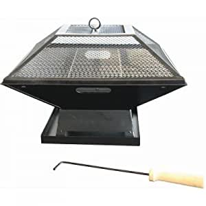 Square fire pit with bbq grill garden for Amazon prime fire pit