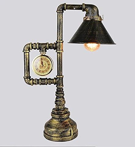 QIN PING GUO Loft Nostalgique En Fer Montre Lampe De Table Décorative Rétro Rétro Barre D'eau Café Café Créatif E27 *