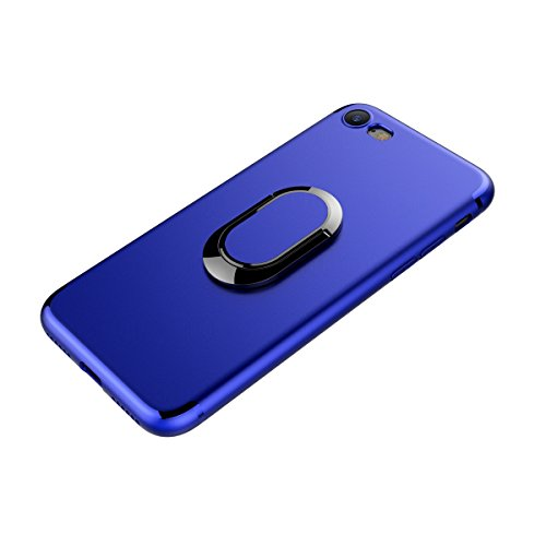 MOONCASE iPhone 7 Custodia, AntiGraffio Antiurto Protezione Supporto per Auto Cover Ultra Slim Flessibile TPU Armatura Defender Case per iPhone 7 4.7 Blu Blu