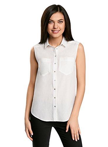oodji Ultra Damen Ärmellose Bluse Basic aus Baumwolle, Weiß, DE 36 / EU 38 / S