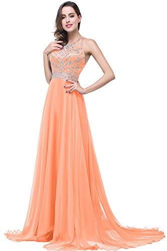 Damen Ärmellos Chiffon Abiballkleid Abschlusskleid mit Schmucksteinen Rückenfrei lang Orange 34