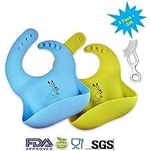 2 baberos de silicona suave impermeables para bebé, color amarillo/azul, sin BPA