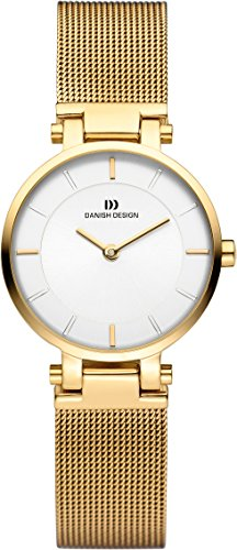 Danish Design Women's Quartz Watch with White Dial Analogue Display and Gold Stainless Steel Gold Plated Strap DZ120370