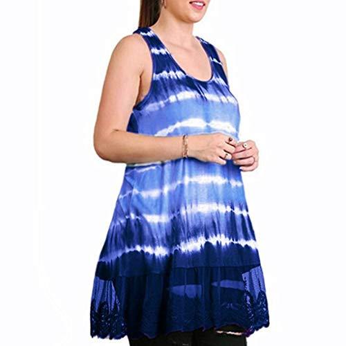 Berimaterry Damen Sommer Kleider Ärmellos Rundhals Druck Strandkleider Tank Top Kleid Partykleid Minikleid Lose Große Größe Casual Sling Kleid -
