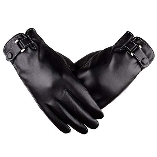 guanti di pelle LAOWWO Guanti in Pelle Uomo Touch Screen Invernali Guanti da Ciclismo per Esterno con Cashmere Neri