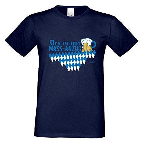Des is mei Mass - Anzug Trachtenshirt für Herren Männer Rehbock Wild Volksfest Oktoberfest Freizeit Übergrößen bis 5XL Farbe: navy-blau Gr: L