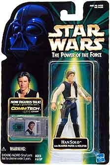 STAR WARS THE POWER OF THE FORCE   ACTION FIGUR 84202   HAN SOLO WITH BLASTER PISTOL & HOLSTER (INKL  COMMTECH CHIP)