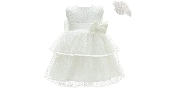 Dkase mall Baptism Dresses for Baby Girls Princess Wedding Dress Baby Birthday Party Dress Ivory White 18m//16-20 Months