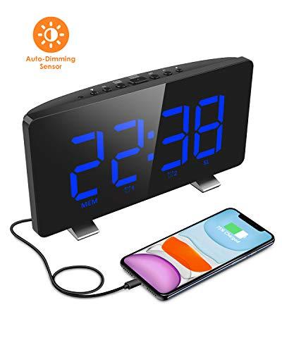 ELEGIANT Despertador Digital, Radio Reloj Despertadores Digitales, Pantalla LED, Atenuador Automático...