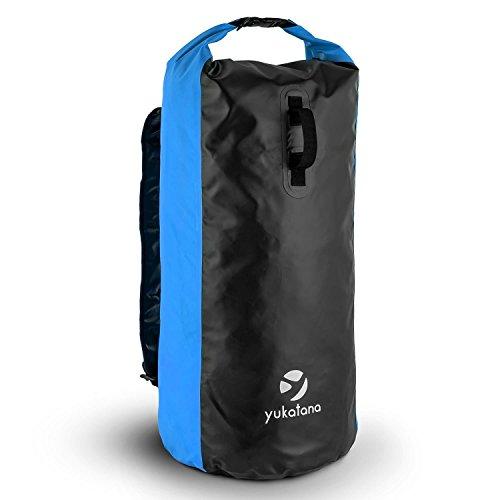 Yukatana Quintona 70 - Packsack, Trekking-Rucksack, Travel-Reiserucksack, 70 Liter Stauraum, strapazierfähig, wasserdicht, Wickelverschluß, Clip-Schnalle, gepolsterte Tragegurte, blau