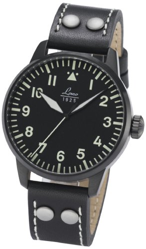 Laco 1925 Men's Automatic Watch with Black Dial Analogue Display and Black Leather Strap 861759