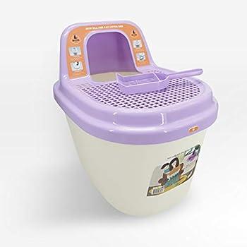 Wcx Rotin Toilette Chat,Fermé Type Toilette Pédale Grand Bassin Sable pour Chats Handicap Toilette pour Animaux (Couleur : Purple)