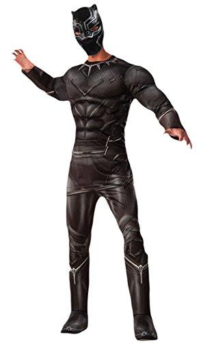 Fancy Ole - Herren Männer Karneval Kostüm Anzug Deluxe Black Panther , Schwarz, Größe (Erwachsene Herren Mario Luigi Brothers Kostüme Deluxe)
