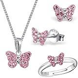 Mädchen Rosa Kristall Schmetterling Ring + Anhänger + Halskette + Ohrstecker 925 Echt Silber Kinder Set (40)