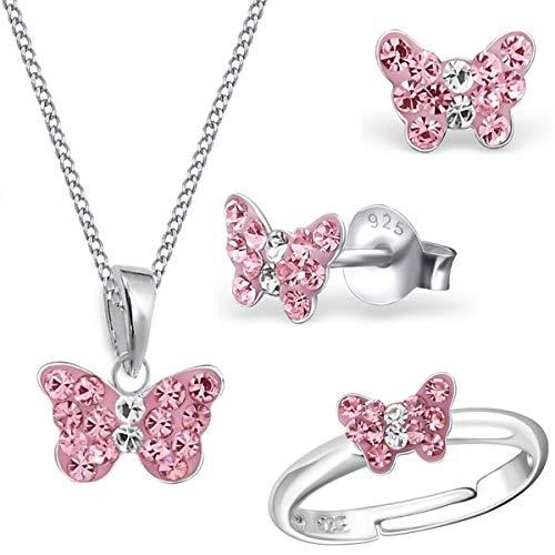 Mädchen Rosa Kristall Schmetterling Ring + Anhänger + Halskette + Ohrstecker 925 Echt Silber Kinder Set (38) (Schmetterling Halskette Für Mädchen)