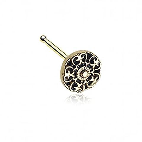 Golden Kali filigranen Nase Ohrstecker Ring 316L chirurgischer Stahl