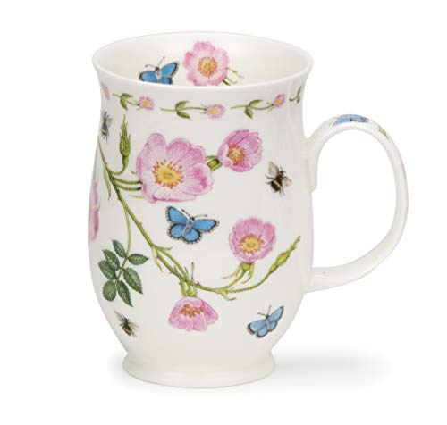 Dunoon Suffolk Shape Floral Lane Tasse aus feinem Porzellan, hergestellt in England - Dog Rose Lane Bone China