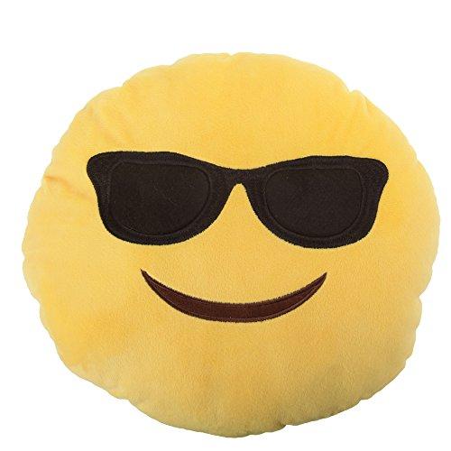 "Emoji - Sunglasses Plush - Emoticon Cushion - 35cm 14"""