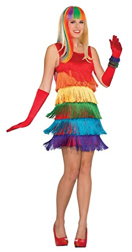 Forum Novelties 77187 Rainbow Shimmy Flapper Kleid (UK Größe 10-12) (Shimmy Kleid Kostüm)