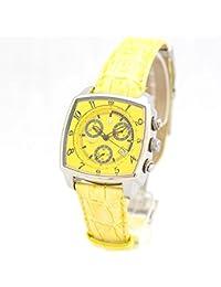 Lancaster Reloj unico Yellow cuarzo Chrono Fecha piel Moderno Mujer Reloj De Pulsera 0262 de sgel