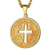 PROSTEEL Medalla escapulario San Benito Oro 18 k con Cadena Cierre reasa