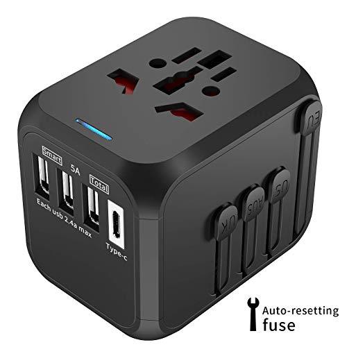 licheers Universal Reiseadapter, Reisetecker mit 1 Typ-C und 3 USB-Anschlüsse für weltweit...