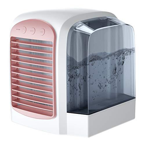 happy event Mobile Klimaanlagen, Mini-Luftkühlerlüfter mit Wasserkühlung Mobile Klimaanlagen Kaltwind-Luftbefeuchter Silent, 380 ml Wassertank 3-Gang für das Büro zu Hause (Rosa) (Kühlen Nebel Ganze Haus Luftbefeuchter)