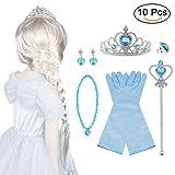 Vicloon Nuovi Costumi da Principessa Set di 10 PCS Dono- Parrucca, Diadema, Guanti, Bacchetta Magica, Orecchini, Anello, Collana per Ragazze di 3-10 Anni(Blu)
