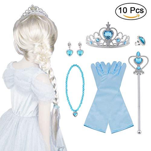 Bonwish vicloon nuovi costumi da principessa set di 10 pcs dono- parrucca, diadema, guanti, bacchetta magica, orecchini, anello, collana per ragazze di 3-10 anni(blu)