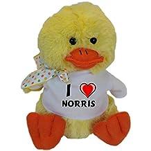 Plüsch Ente mit T-shirt mit Aufschrift Ich liebe Norris (Vorname/Zuname/Spitzname)