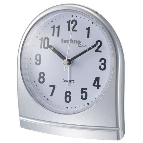 Technoline Quarzwecker Modell SL, silber, analog, schleichender Sekundenzeiger, Belecuhtung, nachtleuchtende Zeiger