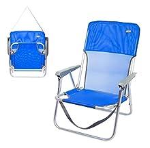 Aktive 62605 – Sedia da spiaggia pieghevole fissa in alluminio, 55 x 34 x 71 cm, con maniglia