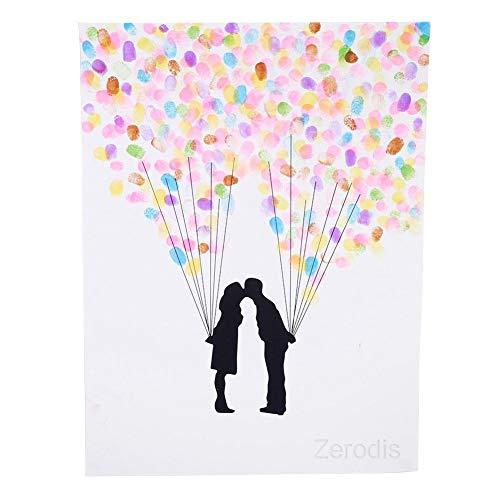 DIY Hochzeit Fingerabdruck Baum Leinwand Unterschrift Gästebuch Mit 6 Farben Tinte für Hochzeit Geburtstag Party(HK007)