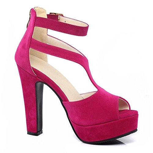 TAOFFEN Femmes Chaussures Western Bloc Talons Hauts Plate-Forme Sandales De Boucle Fuchsia