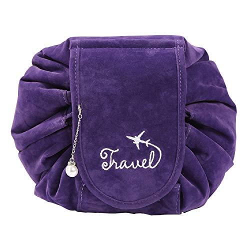 verbesserte Kordelzug-Make-up-Tasche, ONEGenug Velvet Cosmetic Bag, einstufiger Kulturbeutel-Organizer, Kosmetiktasche für Faule Damen (Lila)