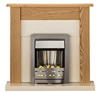 Adam Southwold Fireplace Suite in Oak with Helios Steel Electric Fire, 43 Inch