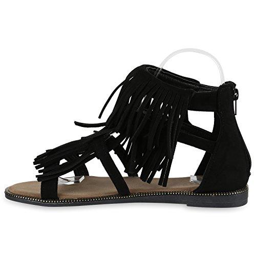Damen Sandalen Fransen | Glitzer Schuhe Quasten | Metallic Flats Schnallen | Riemchensandalen Damenschuhe Velours Schwarz Velours