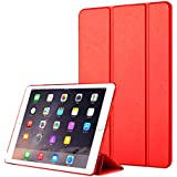 IPad Air 2 Wallet Case,Happon Stylish Slim PU Leather Accessory Stand And Card Holders Wallet Phone Cover Shell Protective Case For IPad Air 2 -Red