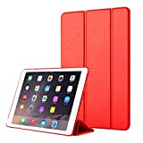 Wendapai iPad Air 2 Hülle, iPad Air 2 Brieftasche Hülle, Leather Cover, Prämie schlank Leder Brieftasche zurück Hülle mit Holder Schutz Hülle zum iPad Air 2,Red