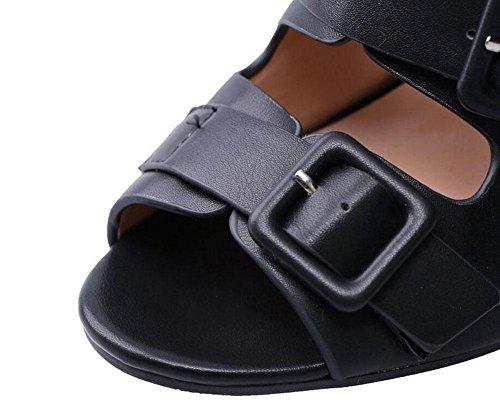 GLTER Femmes Peep Toe Sandales Pompes à bride de cheville Bloc Heel Chaussures Multi-Boucle Sandales à talons hauts Eté Chaussures de grande taille Charmante et confortable Ladies Pumps Blanc Noir Black