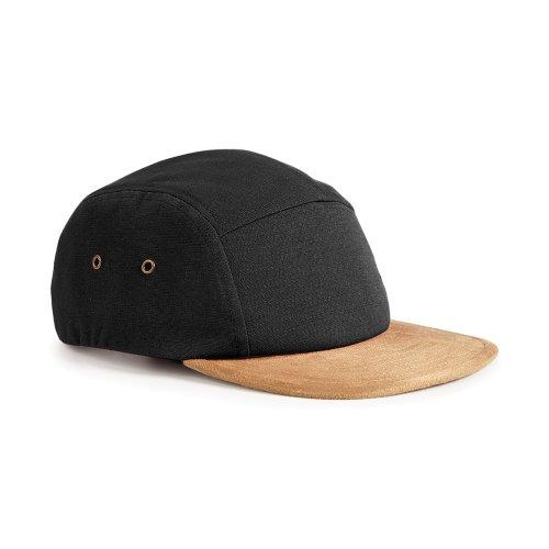 Beechfield Suede Peak 5 Panel Baseball Cap (One Size) (Black)