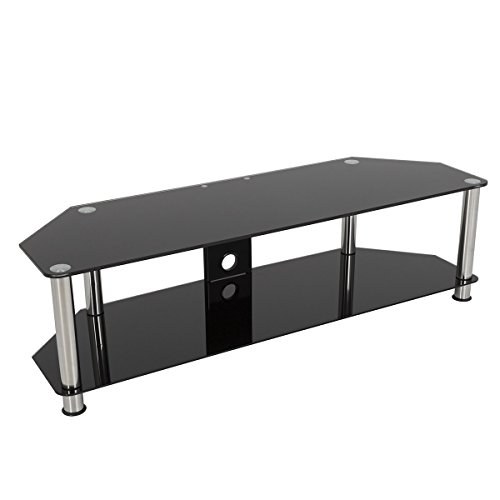 Gloss Black Glass Tv Stand, Silver Legs, 2 Tier, Cable Management For Up To 65