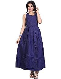 92a73c56eef Estela Women Fit and Flare Rayon Cotton Fabric Printed Dark Blue Aline Midi  Western Maxi Long Gown Dress (Dark…