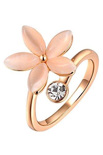 Anillo de cristalino de flor - SODIAL(R)Anillo de joyeria de diamantes de imitacion de flores de cinco petalos para mujeres (oro US 7)