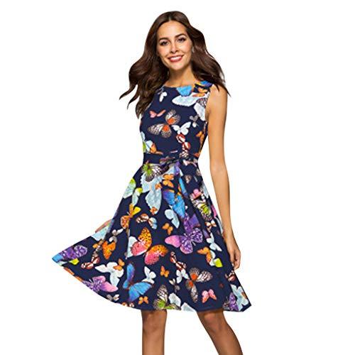 Damen Flowy Midi-Kleid ❤ Sommerkleid ❤ ärmellos Retro Floral Print Plissiert Aline Bandage Strap Swing Short Strandkleid Small blau -