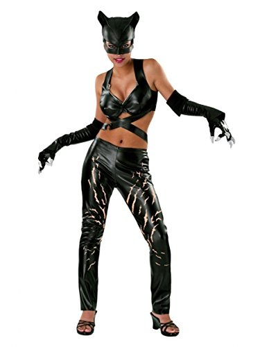 e Kostüm Damen 4 teilig Leggings Top Maske Handschuhe - S (Deluxe Batman Handschuhe)