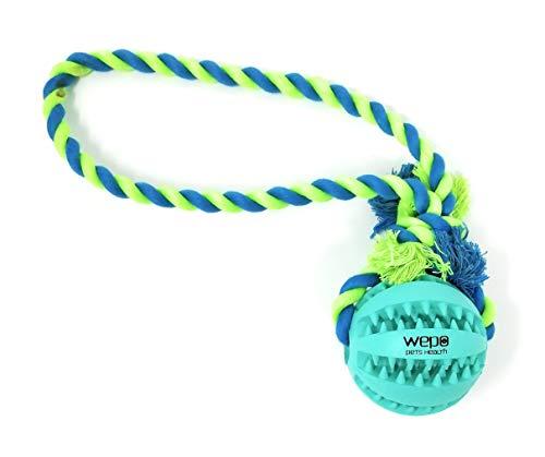 WEPO Hundespielzeug Schleuderball mit Noppen aus Naturkautschuk Hunde Dentalpflege Kauball inkl. Strick 7cm blau grün