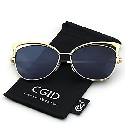 CGID Women's Modern Fashion Mirror Cat Eye Sunglasses Goggles UV400